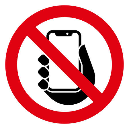 Vector icon of prohibitory sign with mobile phone inside  イラスト・ベクター素材