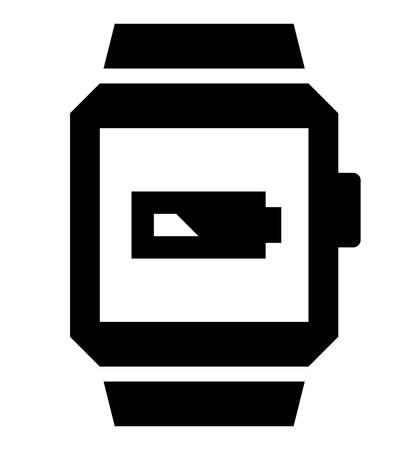 Vector icon of smart watch with battery showing low charge Illustration
