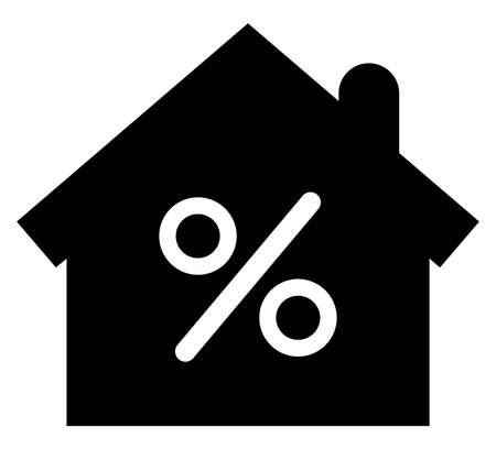Vector icon of house with percent sign inside