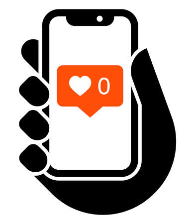 Vector icon of mobile phone in hand with no likes social media notification Illustration