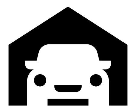 Vector icon of car parked in garage