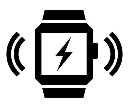 Vector icon of wireless signal going from smart watch with lightning on screen Illustration