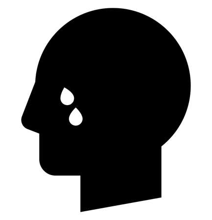 Vector icon of male profile with tears on face Illustration