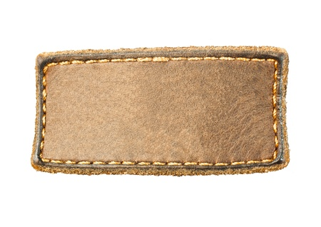 brown leather texture: Rectangular leather patch on a white background