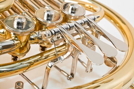 French horn closeup photo