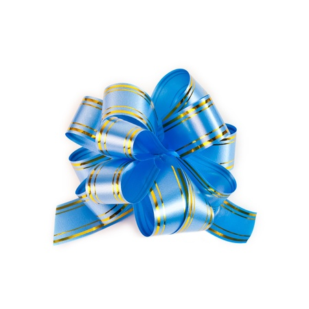 additional: Blue decorative bow on white background Stock Photo