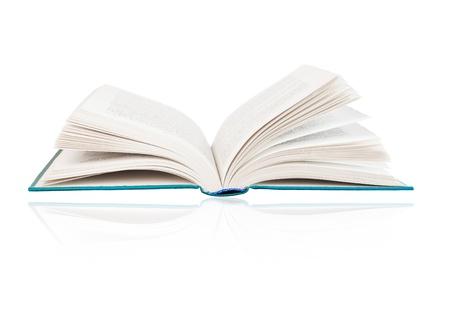 bibliomania: Open book on a white background