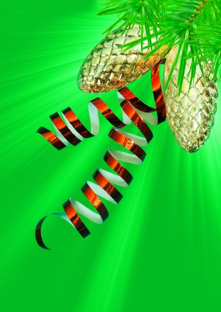 Christmas decorations on a green background photo
