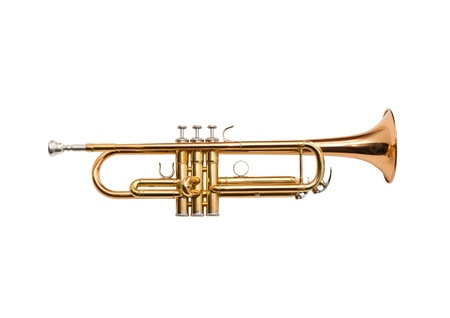 fanfare: Trumpet isolated on a white Stock Photo