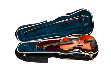 Violin lying in a box isolated on white photo