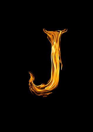 Brand alfabet letter J Stockfoto