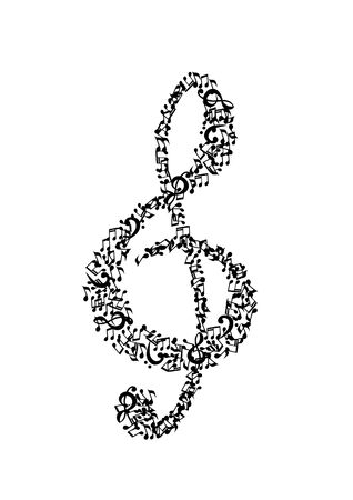 orchestration: Treble clef music composed of  Stock Photo