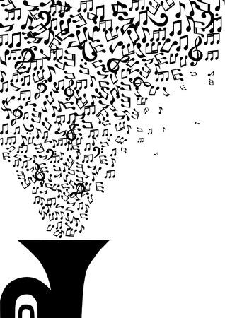 Notas musicales que vuelan fuera de la tubería en un blanco