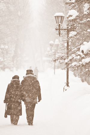 People walking in the snow