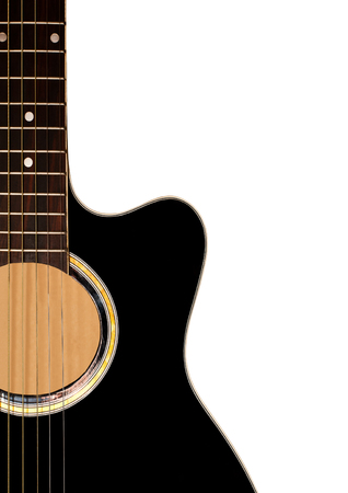 Detail of guitar on white background photo