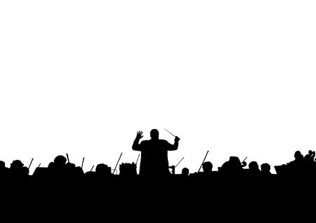 Symphony Orchestra in der Form einer Silhouette auf weißem Hintergrund Standard-Bild