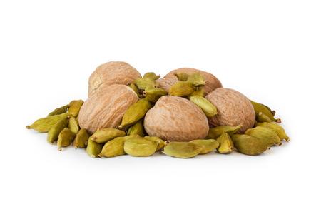 christmas perfume: Fruit nutmeg and cardamom on a white