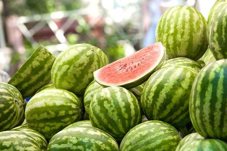 Watermelon lying in a heap