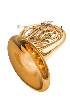 French horn on a white background Stok Fotoğraf