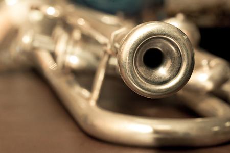 flugelhorn: Fragment trumpet closeup Stock Photo
