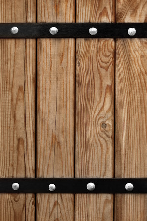 mountings: Background of wooden boards with iron mountings