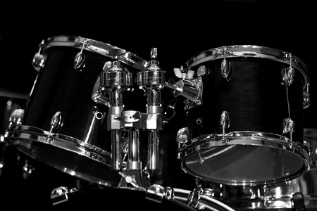 Fragment of a drum set in black and white Stock Photo