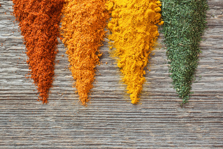 surface closeup: Spices on a wooden surface closeup
