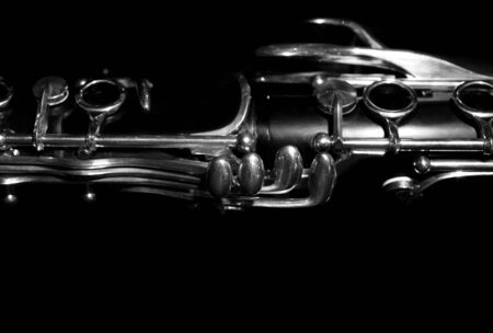 classical music: Fragment of the valves clarinet in dark colors