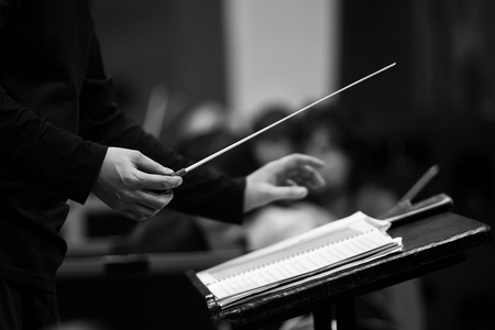Hands of conductor closeup in black and white Imagens - 72652485