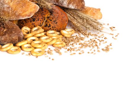 Various breads on a white background Reklamní fotografie