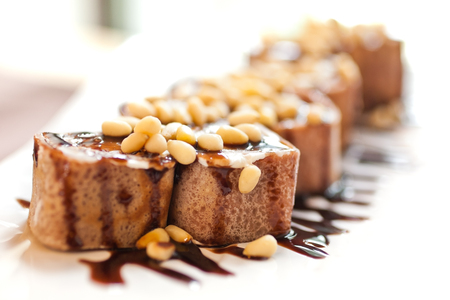 Sweet rolls with pine nuts closeup Reklamní fotografie