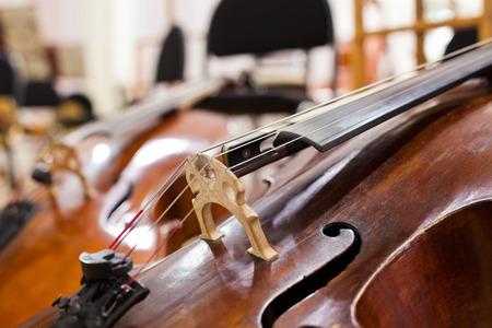 Detail Cello lying on the stage closeup Reklamní fotografie