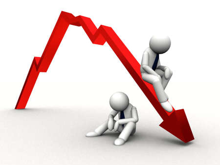 stock broker: 3d red arrow down in business graph