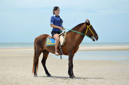 A woman with horse on the Beach photo
