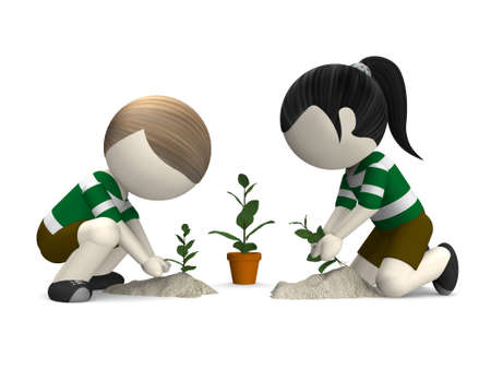 tree planting: 3d young boy and girl planting a tree Stock Photo