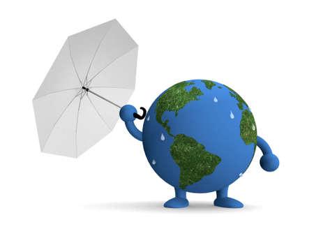 erosion: 3D Cartoon Global warming on white background