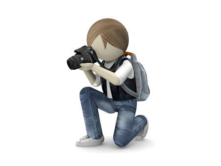 reportage: 3D Photographer with camera on white background Stock Photo