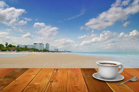coffee break at a thailand beach photo