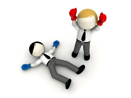 rivalry: businessman boxing concept for business rivalry
