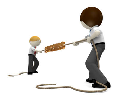 tug: Tug of war concept for business rivalry, competition Stock Photo