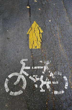 Bicycle symbol on street photo