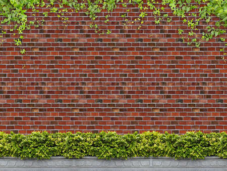 ivy wall: Tree in pot with brick wall background