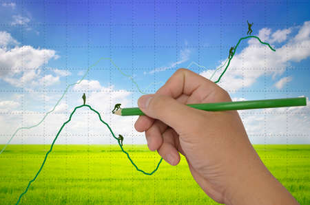 business concepts drawing financial graph and helping businessman
