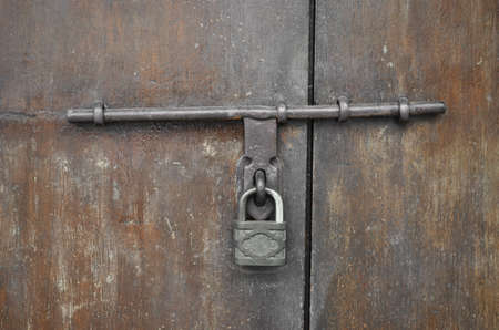 hasp: old rusty padlock and hasp