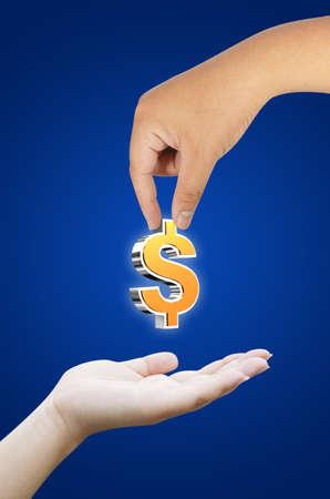 hand holding dollar symbol photo