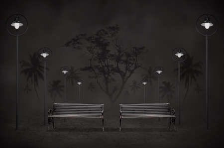 night park with light and two bench Stock Photo