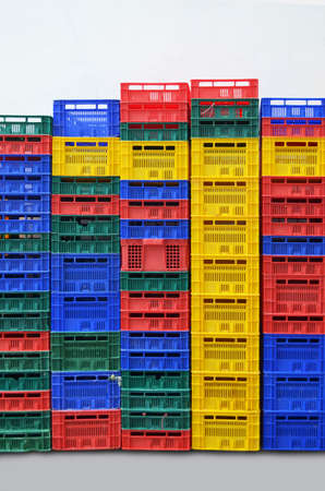 colorful plastic  stacked fruit packing containers  photo