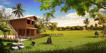 wooden house in the meadow photo