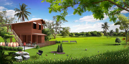 3d wooden house in the meadow photo