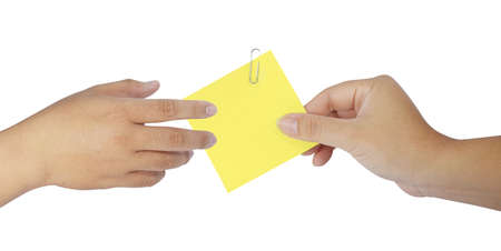 human hand holding blank note paper on white photo